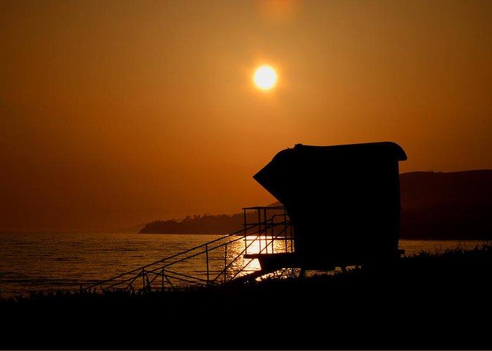 Sunset Greeting Card featuring the photograph El Capitan Beach Sunset by Joshua Benk