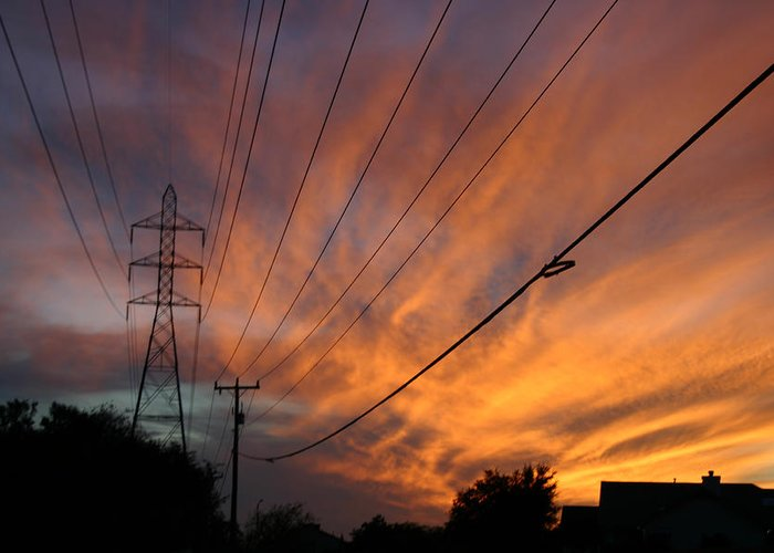 Ironman Greeting Card featuring the photograph Electric Sunset by Nina Fosdick
