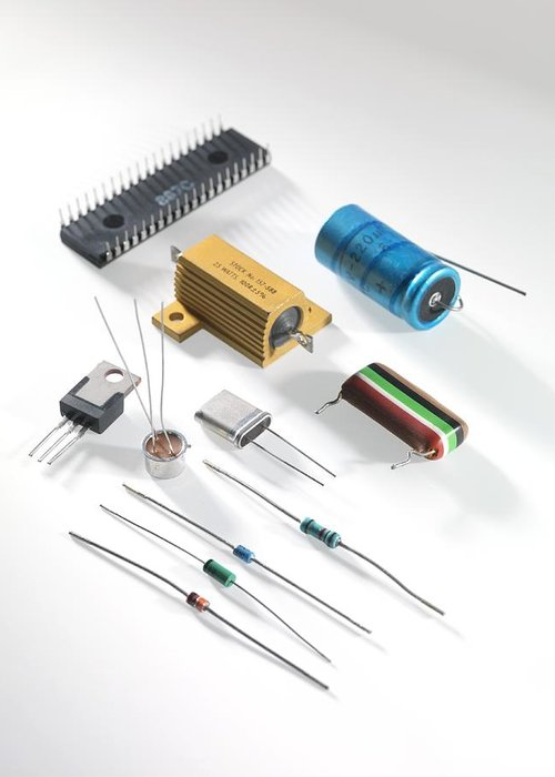 Close Up Greeting Card featuring the photograph Electronic Components by Tek Image