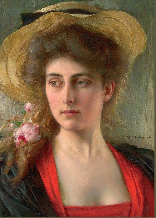 Elegante (oil On Panel) Female; Portrait; Straw Hat; Red Dress; Elegant; Melancholy; Melancholic; Edwardian; Beauty; Bust Greeting Card featuring the painting Elegante by Albert Lynch