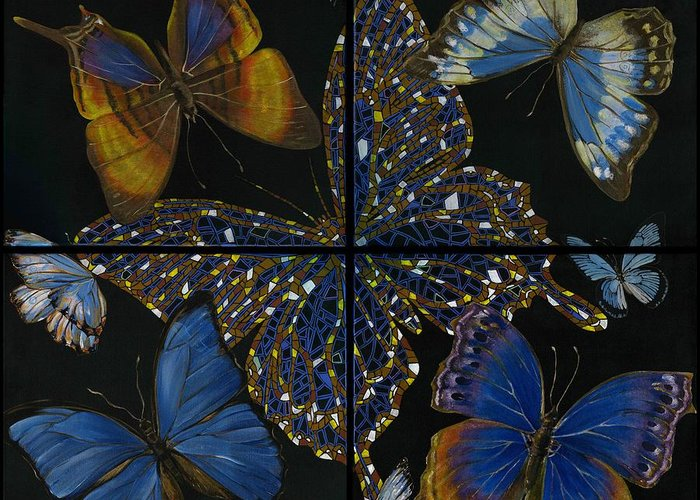 Acrylic Greeting Card featuring the painting Elena Yakubovich Butterfly 2x2 by Elena Yakubovich