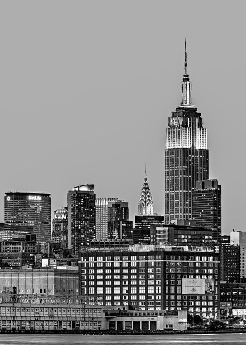 Empire State Building Greeting Card featuring the photograph Empire State Bw by Susan Candelario