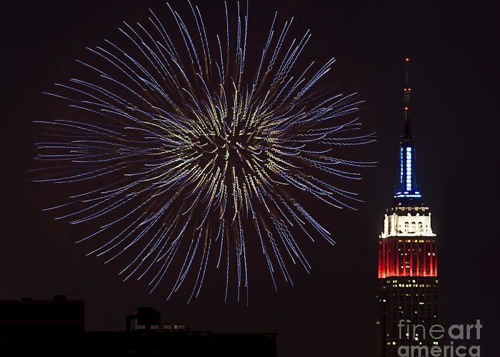 Empire State Building Greeting Card featuring the photograph Empire State Fireworks by Susan Candelario