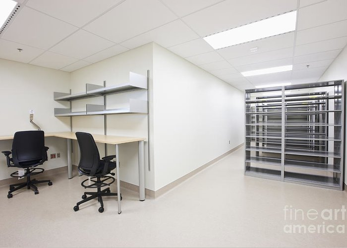 Architecture Greeting Card featuring the photograph Empty Metal Shelves And Workstations by Jetta Productions, Inc