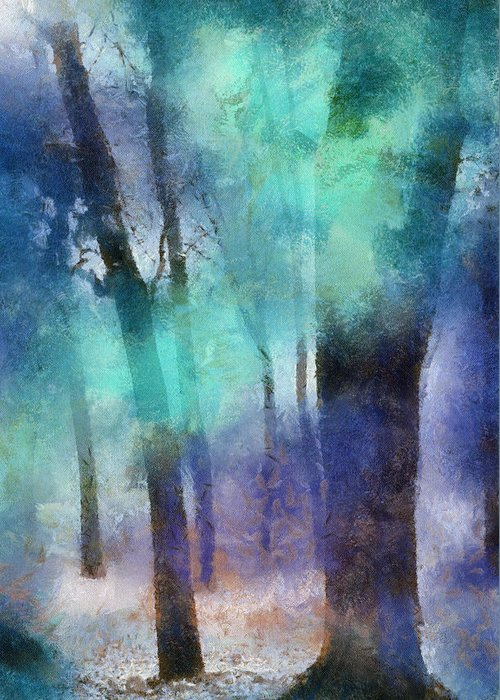 Nature Greeting Card featuring the photograph Enchanted Forest. Painting With Light by Jenny Rainbow