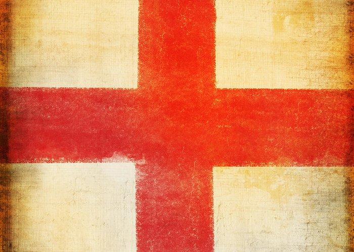Abstract Greeting Card featuring the photograph England Flag by Setsiri Silapasuwanchai