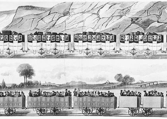 1833 Greeting Card featuring the photograph England: Railroad Travel by Granger