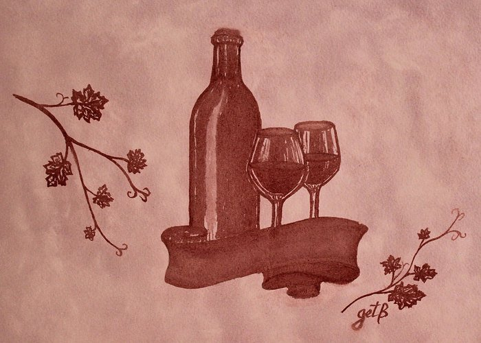 Red Wine Greeting Card featuring the painting Enjoying Red Wine Painting With Red Wine by Georgeta Blanaru
