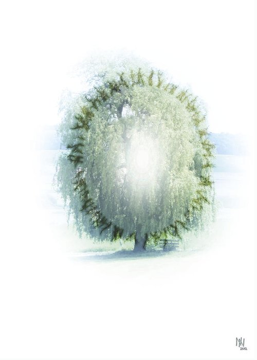Enlightenment Greeting Card featuring the digital art Enlightment Of The Willow by Nafets Nuarb
