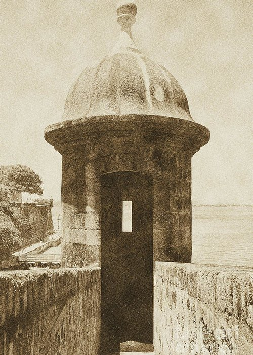 El Morro Greeting Card featuring the digital art Entrance To Sentry Tower Castillo San Felipe Del Morro Fortress San Juan Puerto Rico Vintage by Shawn O'Brien