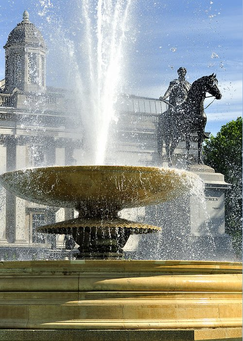 Trafalgar Square Greeting Card featuring the photograph Essential Elements Of Trafalgar Square by Vicki Jauron