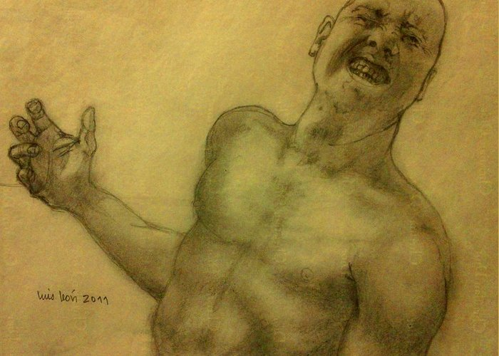 Torso Greeting Card featuring the painting Face One by Luis Leon