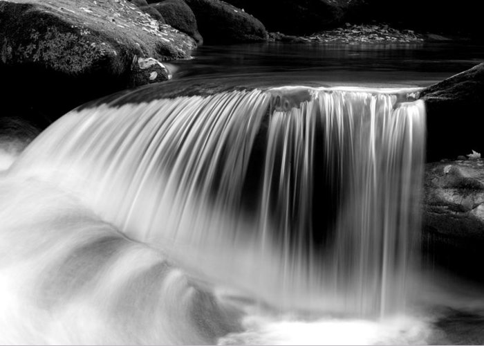Waterfalls Greeting Card featuring the photograph Falling Water Black And White by Rich Franco