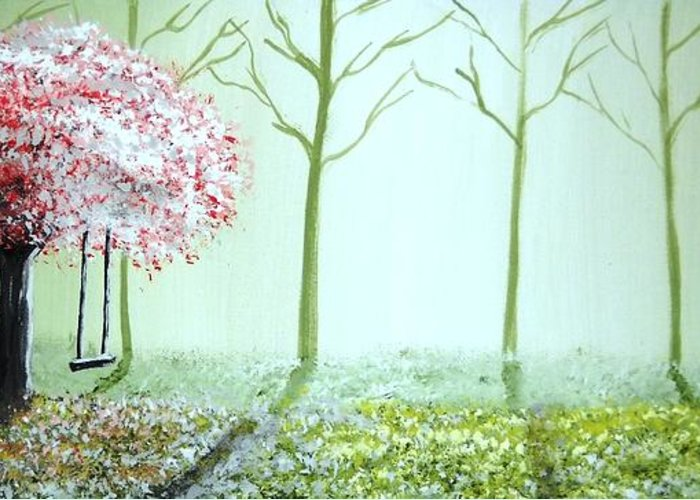 Fantasy Greeting Card featuring the painting Fantasy Garden by Edwin Alverio