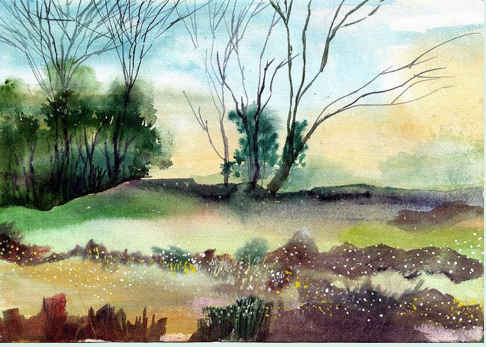 Tree Greeting Card featuring the painting Far Beyond by Anil Nene