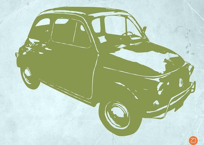 Fiat 500 Greeting Card featuring the digital art Fiat 500 by Naxart Studio