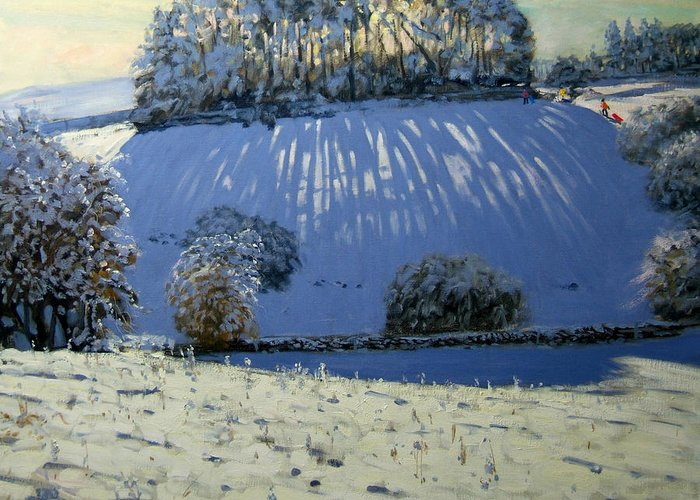 Sledging Greeting Card featuring the painting Field Of Shadows by Andrew Macara