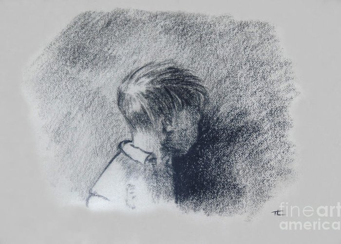 Hand Greeting Card featuring the drawing Figure Study by Thomas Luca