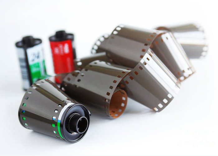 35mm Greeting Card featuring the photograph Film And Canisters by Carlos Caetano