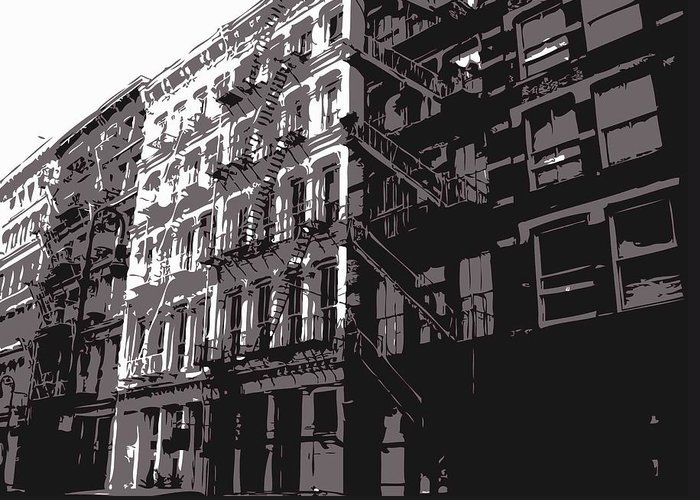 New York City Fire Escapes Greeting Card featuring the photograph Fire Escapes Bw3 by Scott Kelley