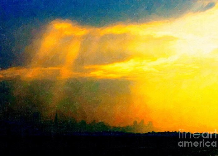 San Francisco Greeting Card featuring the photograph Fire In The City by Wingsdomain Art and Photography