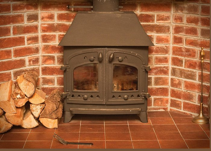 Autumn Greeting Card featuring the photograph Fireplace by Tom Gowanlock