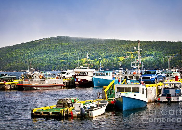 Boats Greeting Card featuring the photograph Fishing Boats In Newfoundland by Elena Elisseeva