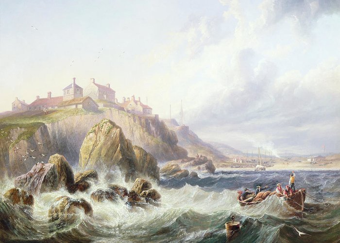 Seaside Greeting Card featuring the painting Fishing Boats Off Scotland by John Wilson Carmichael