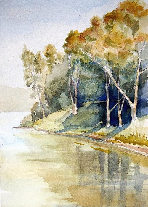 Lake Greeting Card featuring the painting Fishing Lake by Stephanie Aarons