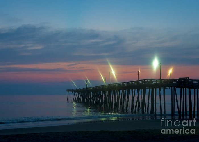 Atlantic Greeting Card featuring the photograph Fishing Pier Sunrise by John Greim