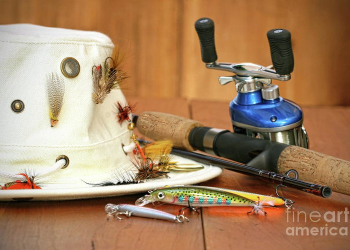 Activity Greeting Card featuring the photograph Fishing Reel With Hat And Color Lures by Sandra Cunningham