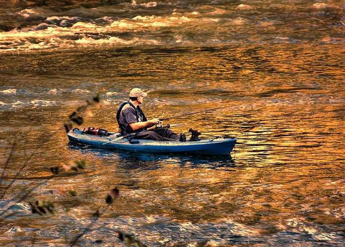 Fishing Greeting Card featuring the photograph Fishing The Golden Hour by Steven Richardson