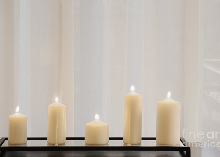 5 Greeting Card featuring the photograph Five White Lit Candles by Andersen Ross
