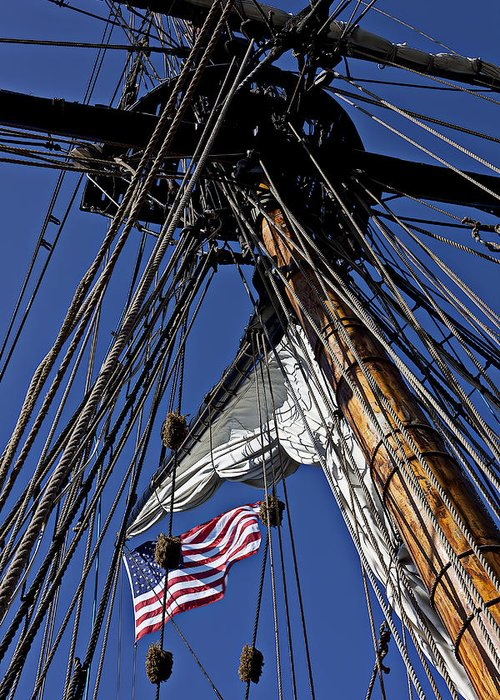 American Greeting Card featuring the photograph Flag In The Rigging by Garry Gay