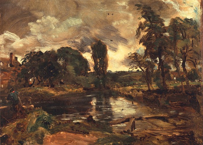 River Stour Greeting Card featuring the painting Flatford Mill From The Lock by John Constable