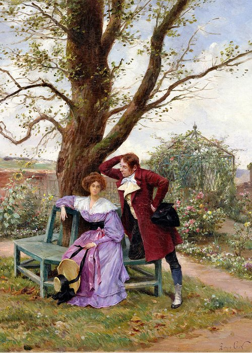 Courting; Garden Scene; Courtship; Love; Conversation; Gazebo; Victorian Greeting Card featuring the painting Flirtation by Georges Jules Auguste Cain