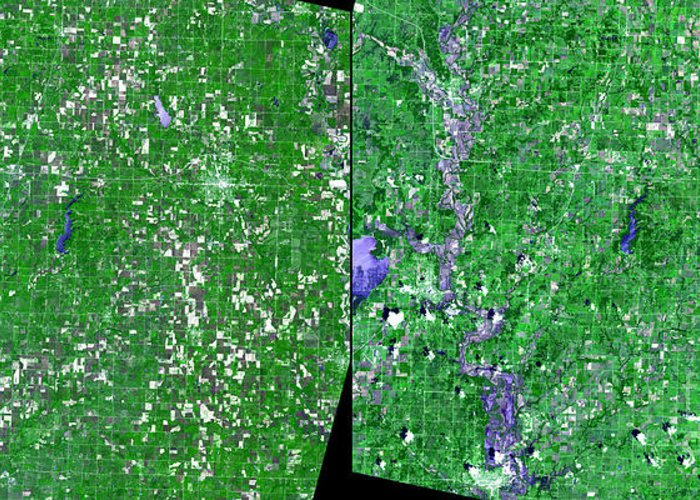 Flooding Greeting Card featuring the photograph Flooding In Kansas by Nasa