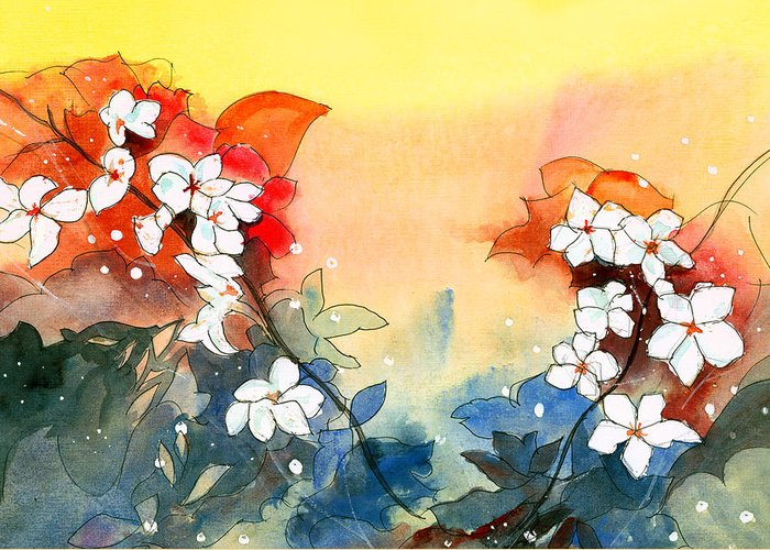 House Greeting Card featuring the painting Floral Neklace by Anil Nene