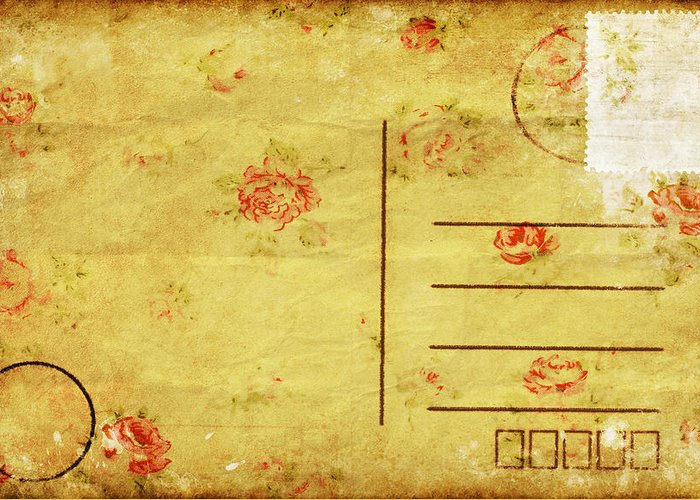 Address Greeting Card featuring the photograph Floral Pattern On Old Postcard by Setsiri Silapasuwanchai