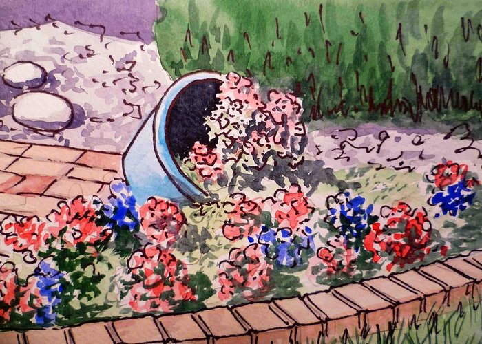 Flower Pot Greeting Card featuring the painting Flower Bed Sketchbook Project Down My Street by Irina Sztukowski