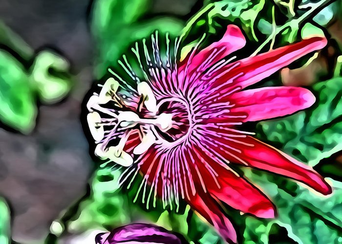 Metro Greeting Card featuring the digital art Flower Painting 0001 by Metro DC Photography