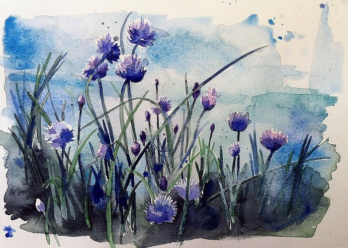 Chives Greeting Card featuring the painting Flowering Chives by Stephanie Aarons