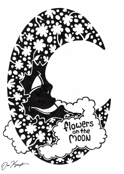 Flower Greeting Card featuring the drawing Flowers On The Moon by Dan Keough