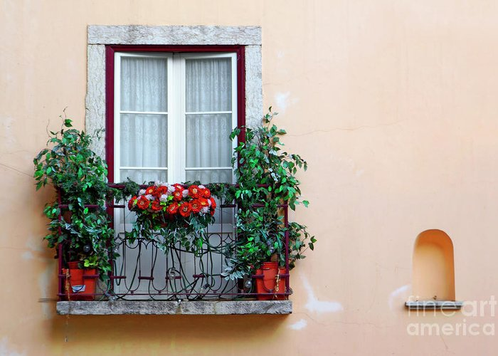 Alfama Greeting Card featuring the photograph Flowery Balcony by Carlos Caetano