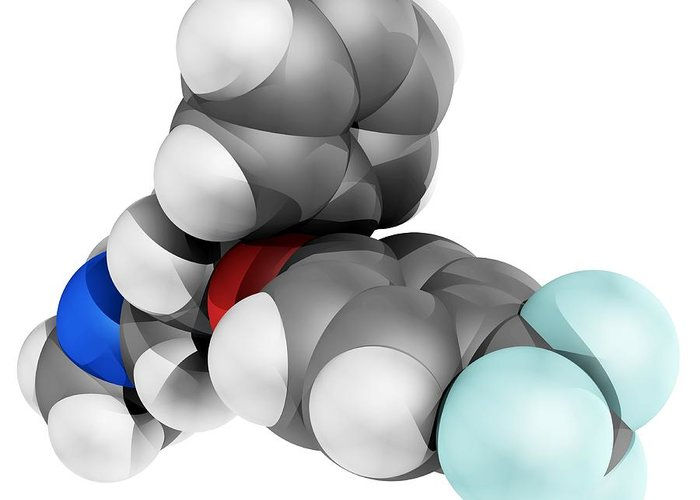 Molecular Greeting Card featuring the photograph Fluoxetine Antidepressant Drug Molecule by Laguna Design