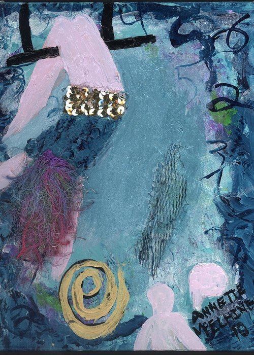 Women Greeting Card featuring the painting Flying Without A Net by Annette McElhiney