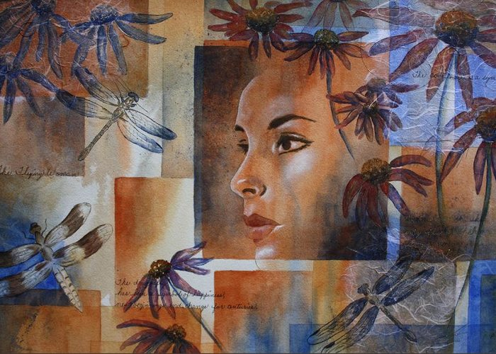 Spiritual Portrait Of Woman Greeting Card featuring the painting Flying Woman by Patsy Sharpe