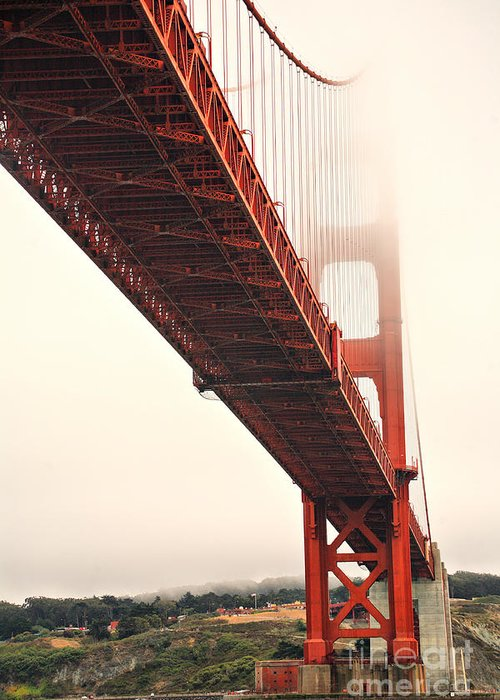 Golden Gate Bridge Greeting Card featuring the photograph Fog Lifting At The Golden Gate by Cheryl Young