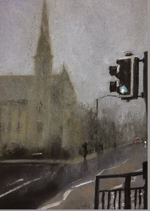 Fog Greeting Card featuring the pastel Foggy Herne Bay 1 by Paul Mitchell