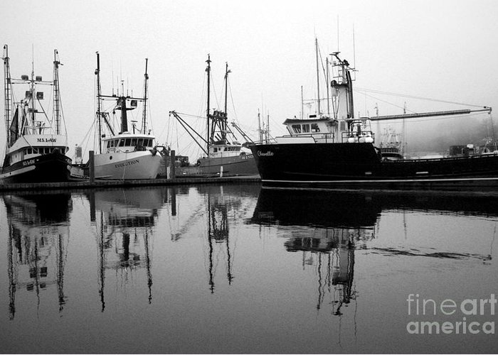 Fog Greeting Card featuring the photograph Foggy Reflections Bw by Kami McKeon